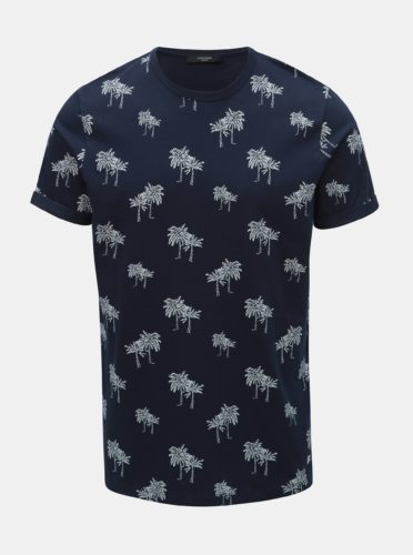 Tmavě modré vzorované tričko Jack & Jones Slam
