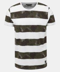 Zeleno-bílé pruhované tričko Shine Original Camo