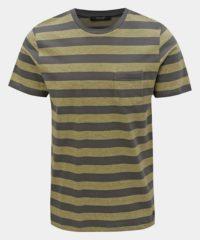 Zeleno-šedé pruhované basic tričko Jack & Jones Normann