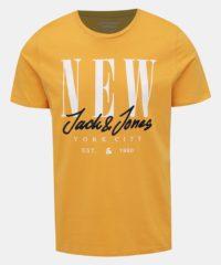 Žluté tričko s potiskem Jack & Jones City Sign