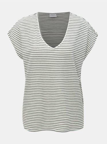 Bílé pruhované basic tričko AWARE by VERO MODA Ava