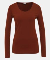 Hnědé basic tričko Jacqueline de Yong Ava