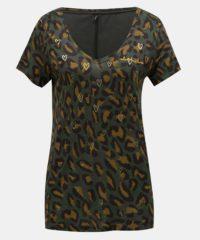 Khaki volné tričko s leopardím vzorem a motivem srdcí ONLY Sabel