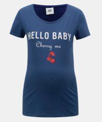 Modré těhotenské tričko s potiskem a flitry Mama.licious Kristine
