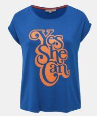 Modré tričko s potiskem ONLY CARMAKOMA Yes