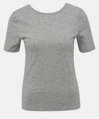 Šedé žíhané basic tričko Noisy May Elena
