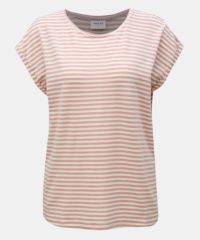 Starorůžové pruhované basic tričko AWARE by VERO MODA Ava